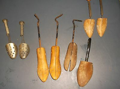 Lot Of 8 Vintage Wooden And Metal Shoe Stretchers Some Pairs
