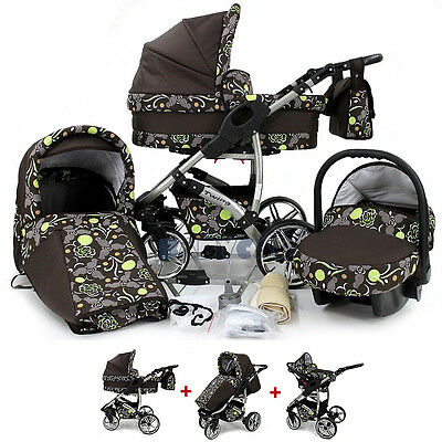 Baby Pram 3in1 Pushchair Stroller Buggy Travel System SWIVEL WHEELS Car seat