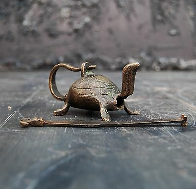 Solid Brass Indian Turtle Shaped Antique Lock (decorative item) Working Curio