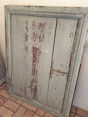French Reclaimed Architectural Wood Panel Painted Duck Egg Blue Vintage