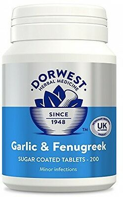 Dorwest Herbs Garlic And Fenugreek Tablets For Dogs And Cats 200 Tablets