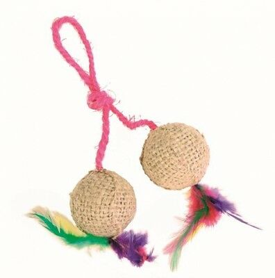 Trixie 2 Balls On A Rope - Jute Cat Toy