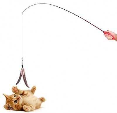 ONEVER Teaser Cat Catcher | Retractable Fishing Pole Wand Rod | 2pcs Large Toy