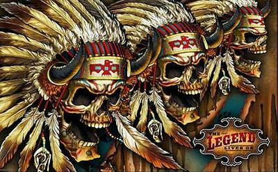 The Legend Lives Skulls W Feather Bonnet  3 X 5 Motorcycle Biker Flag #398 New