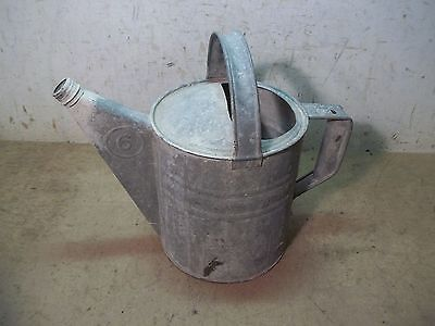 Old Galvanizes Metal No. 6 Garden Water Can with Handle