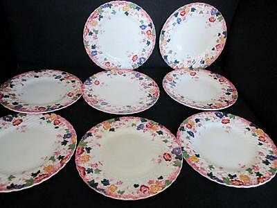 Rare Burgess & Leigh Vermont Multi Color 8 X Bread / Butter Plates 1906+  Kt687