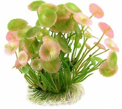 Sourcingmap Round Leaf Aquarium Tanks Aquatic Plants 5.3-inch, Green/ Pink