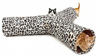 PAWZ Road Leopard Print Cat Tunnel Crinkly Sounds 3 Ways Fun Tunnel Collapsible