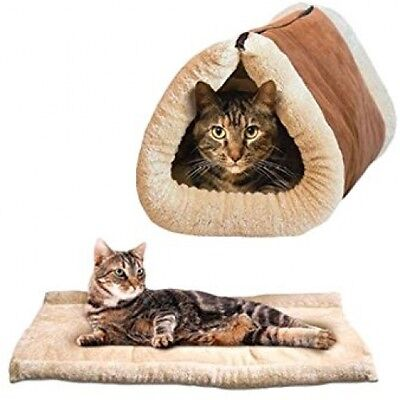 Ardisle 2 In 1 Pet Tunnel Bed Mat Cat Cushion Luxury Puppy Pad Fleece Self Sofa
