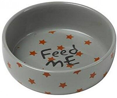 Little Petface Ceramic Puppy/Kitten Food Bowl - Red Stars
