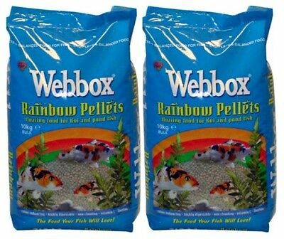 20kg Webbox Rainbow Pellets Floating KOI CARP and All Pond Fish Food