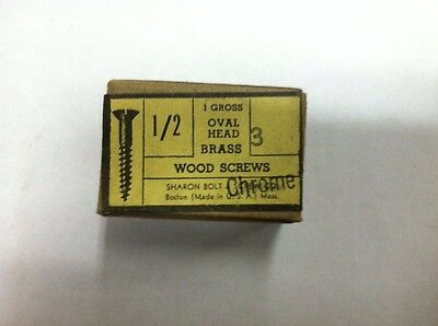 1/2 X # 3 OVAL HEAD CHROME PLATED BRASS SLOTTED WOOD SCREWS-144 PER BOX New!!