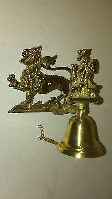 Solid Brass Lion Hunter English Front Door Pull Chain Wall Bell Dinner Post Pole