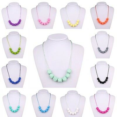 Teething Teether Polygon BPA-Free Baby Chain Cute Beads Necklace Charm Silicone