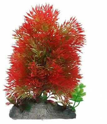 Sourcingmap Ceramic Base 6.7 Height Green Red Plastic Plants For Fish Tank