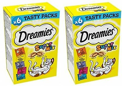 Dreamies Supermix 6 X 30g Packs Of Dreamies Cat Treats - 2 Boxes (12 X 30g (2