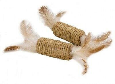 Feather Roller/Rattle. Cat / Kitten Toy (Pack Of 2) With 100% Natural Wild