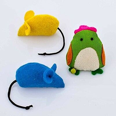 Blueberry Pet Toys For Cat Twill Cloth Chick + 2 Felt Mice - 3-Piece Value Pack