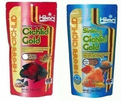 Cichlid Fish Variety Food Pack Of 2 Sinking Gold Medium and Gold Large Floating
