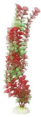 Sourcingmap Aquarium Artificial Snowflake Leaf Plants, 16-inch, Green/ Red
