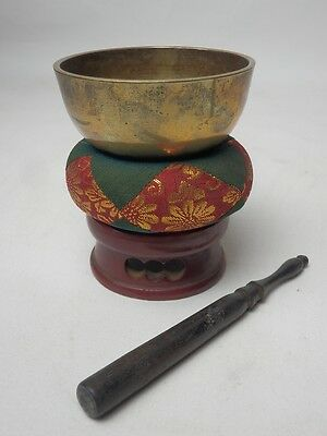 "BB1 JAPANESE VTG W:8.5cm/3.3"" BUDDHIST BELL ORIN SET SINGING BOWL FREE SHIPPING"