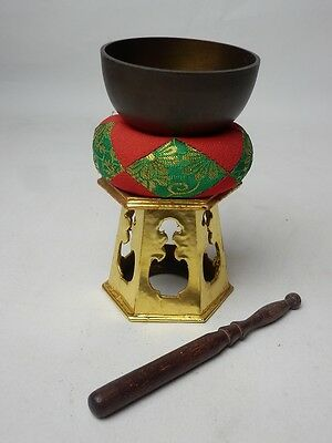 "BB5 JAPANESE VTG W:7.5cm/3"" BUDDHIST BELL ORIN SET SINGING BOWL FREE SHIPPING"