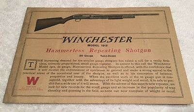 ORIGINAL Winchester Model 1912 Hammerless Repeating Shotgun Advertising Brochure