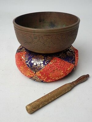 "BB45 JAPANESE VTG W:11.5cm4.5"" BUDDHIST BELL ORIN SET SINGING BOWL FREE SHIPPING"