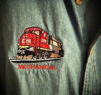 CN Railroad Train Locomotive Mechanic's Long Sleeve Shirt Size 3XL Embroidered