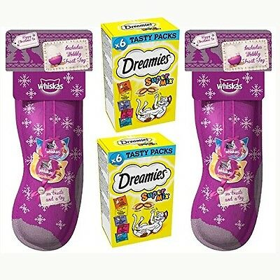 2 X Whiskas Cat Stockings and 2 X Dreamies Super Mix