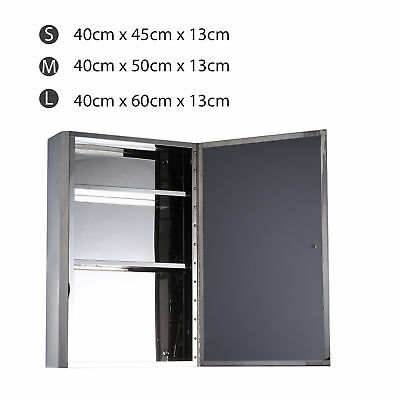 Wall Mounted Cabinet Mirror Storage Shelves Cupboard Bathroom Stainless 1 Door