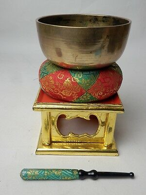 "BB31 JAPANESE VTG W:11.7cm4.6"" BUDDHIST BELL ORIN SET SINGING BOWL FREE SHIPPING"