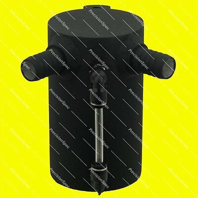 "0.5L Baffled Black Aluminium Oil Catch Can With 19mm 3/4"" Inlets + Drain Plug"