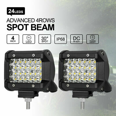 "2x 120W 4"" inch Work Lights Philips Spot LED Light Bar Reverse 4WD 12V 24V"