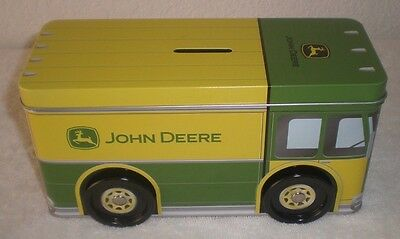 "John Deere Truck Tin Bank Size: 8-3/8 x 3-3/8 x 4""H from the Tin Box Company"