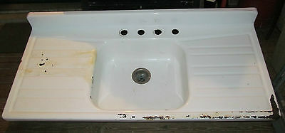 Vintage Cast Iron Porcelain Farmhouse Kitchen Sink Double Drainboard 1132012d