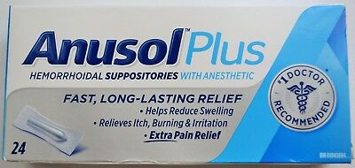 Anusol Plus Extra Pain Relief Anesthetic Hemorrhoid Suppositories - 24 Total