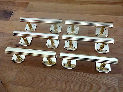 6 X Brass Art Deco Door Or Drawer Pull Handles Cupboard Furniture  Knobs