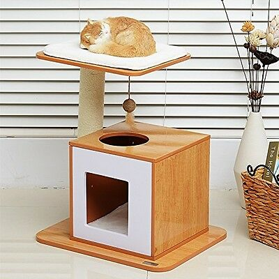 PawHut 63cm Wooden Cat Tree Condo Scratcher Post Pet Climbing Frame Kitty Play