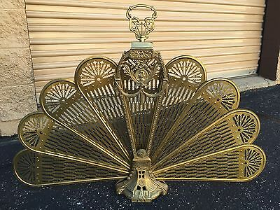 ART DECO Classic Ornate Brass Folding Peacock Style Fireplace Screen Woman Cameo