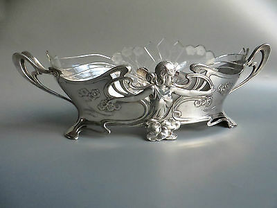 WMF art nouveau silver plated pewter flower dish