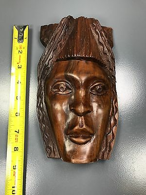 """Private Collector - A Beautiful 9""""h X 4.5""""w African Wooden """"detailed Wood Mask"""""""