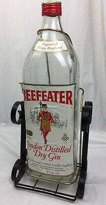 Vintage XL BEEFEATER London Distilled Dry Gin Bottle W/Swinging Iron Pour Stand