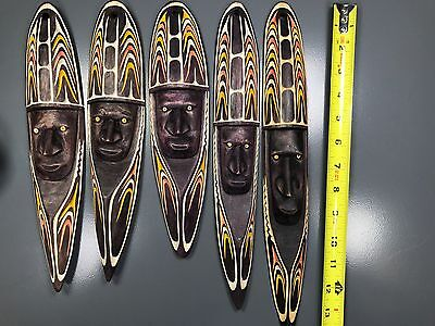 """Private Collector - 5 Beautiful 10"""" To 13""""h X 3.5""""w African Wooden """"set 5 Masks"""""""