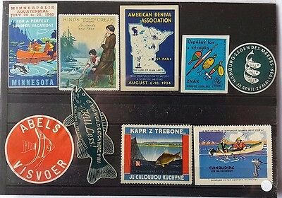 United States / Europe Selection Of 9 Fish & Fishing Related Promotional Labels