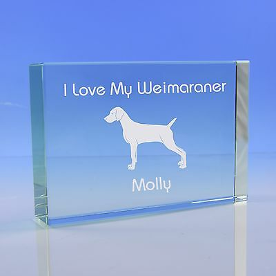 Weimaraner Dog Gift Personalised Engraved Glass Paperweight Ornament