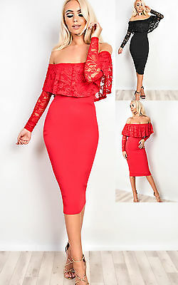Women's Ladies Stunning Lace Glam Party Bodycon Dress