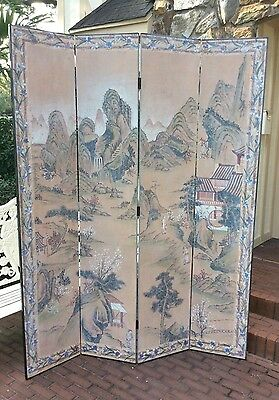 Vtg Chinese Chinoiserie Hand-Painted 4 Panel Screen 7 Feet Tall