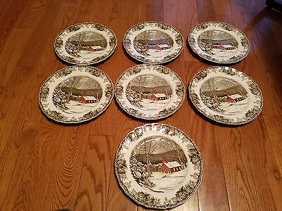 "Lot of 7 Johnsons Bros Friendly village 10"" Plates"