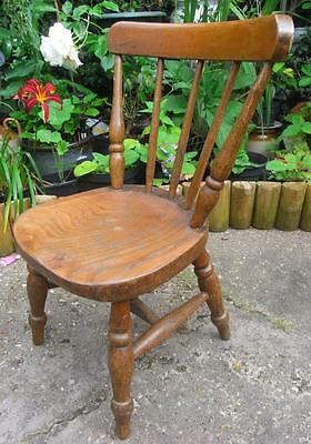 Lovely Little Child's Size Antique Wooden Chair Turned Baluster Spindles & Legs